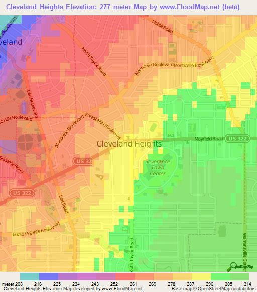 Current Local Time In Cleveland Ohio USA Association Of - Us map topography