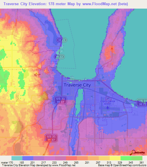 Elevation Of Traverse CityUS Elevation Map Topography Contour - Us city elevations map
