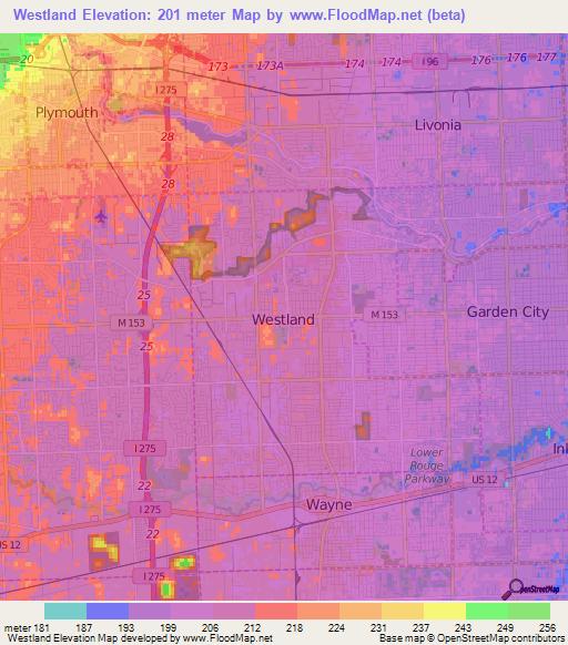 Elevation of Westland,US Elevation Map, Topography, Contour