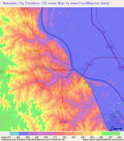 Elevation Of Nebraska City Us Elevation Map Topography Contour