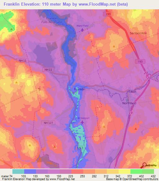 Elevation Of FranklinUS Elevation Map Topography Contour - Franklin on us map
