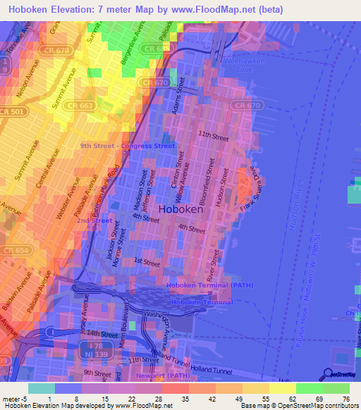 Elevation Of HobokenUS Elevation Map Topography Contour - Us map elevation