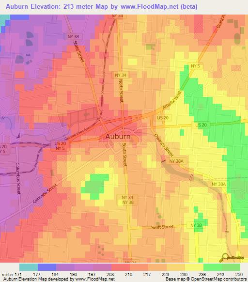 Elevation Of AuburnUS Elevation Map Topography Contour - Auburn us map