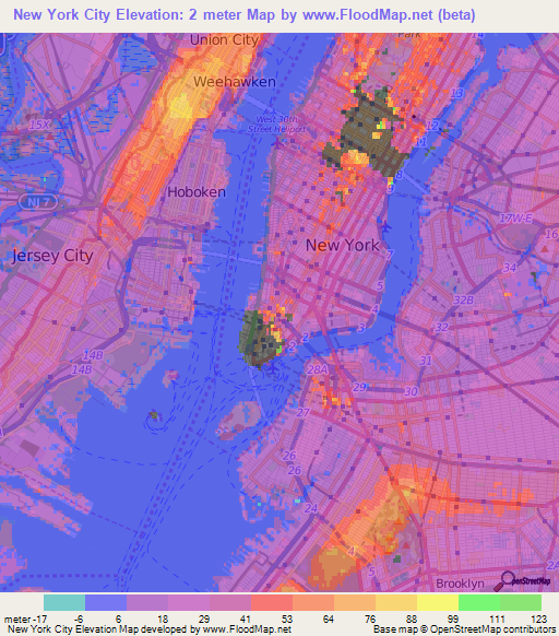 Elevation of New York City,US Elevation Map, Topography, Contour