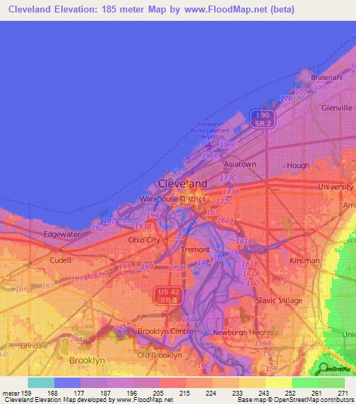 topographic map cleveland ohio Elevation Of Cleveland Us Elevation Map Topography Contour