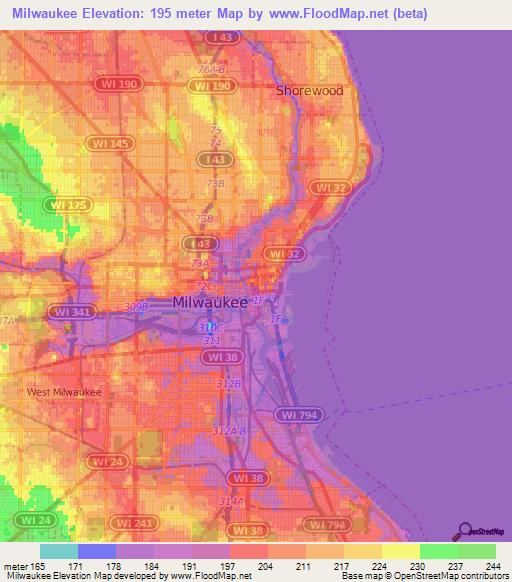 Elevation Of MilwaukeeUS Elevation Map Topography Contour - Milwaukee on us map