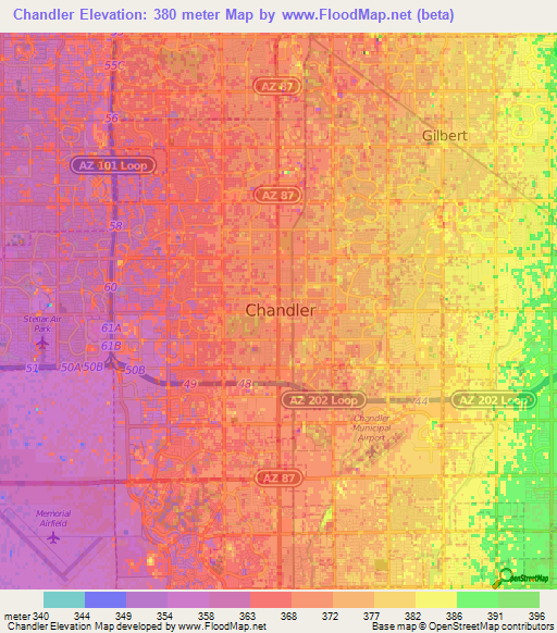 Elevation of Chandler,US Elevation Map, Topography, Contour on
