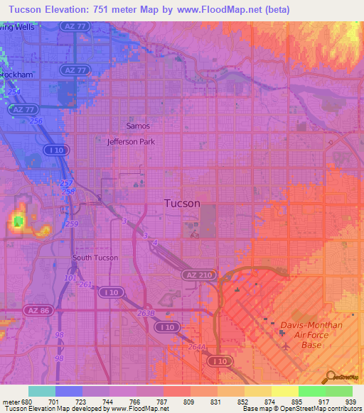 Elevation of Tucson,US Elevation Map, Topography, Contour on