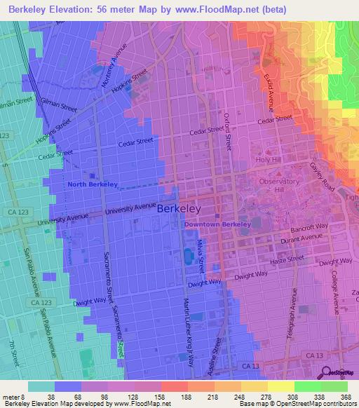 Elevation Of BerkeleyUS Elevation Map Topography Contour - Berkeley on us map