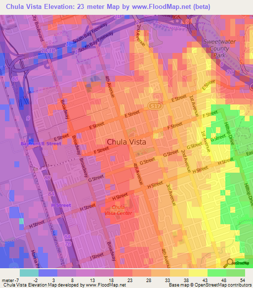 Elevation of Chula Vista,US Elevation Map, Topography, Contour on