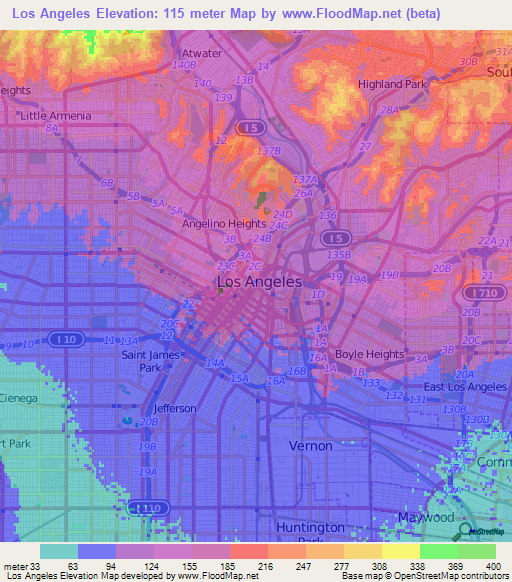 Elevation Map Los Angeles ca Elevation Map Los Angeles