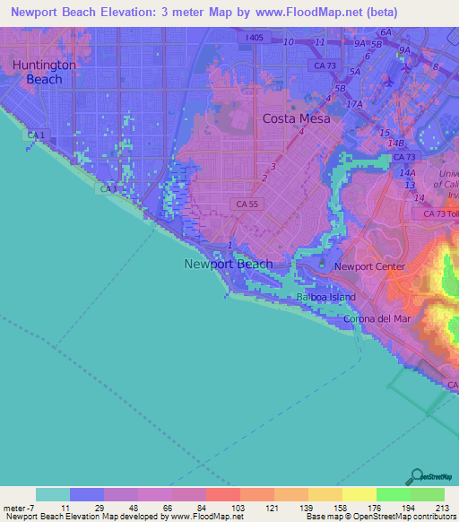 Elevation of Newport Beach,US Elevation Map, Topography, Contour