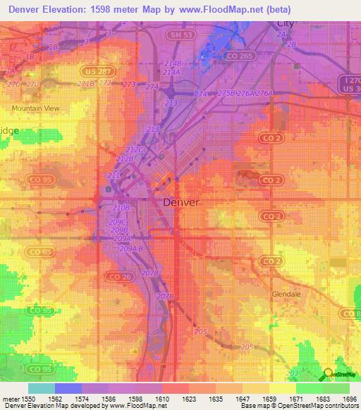 denver colorado elevation map Elevation Of Denver Us Elevation Map Topography Contour denver colorado elevation map