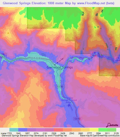 Elevation of Glenwood Springs,US Elevation Map, Topography ... on