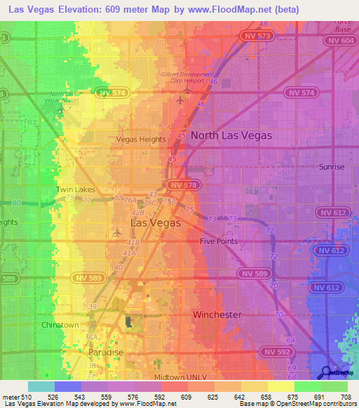 Elevation of Las Vegas,US Elevation Map, Topography, Contour