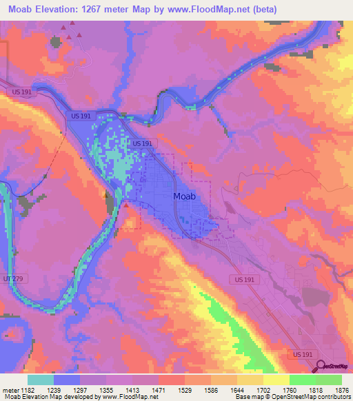 Elevation of Moab,US Elevation Map, Topography, Contour
