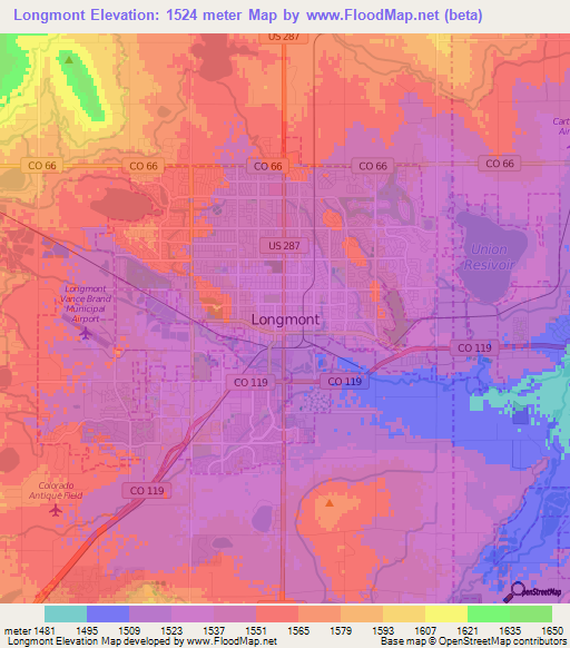 Elevation Of LongmontUS Elevation Map Topography Contour - Elevation map of colorado