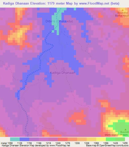 Elevation Of Kadiga Dhanaan Somalia Elevation Map Topography Contour Dhanaan waa ceel oo saanag ku yaal ee u dhow fiqifuliye oo waxaa ku nool hinjiile, bahina arale, bah idris. flood map