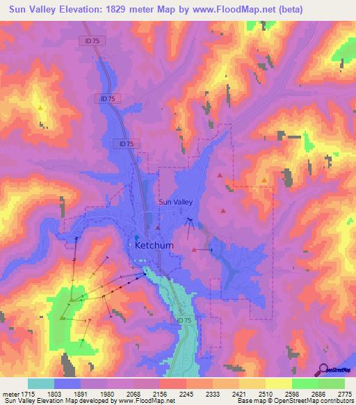 Elevation Of Sun ValleyUS Elevation Map Topography Contour - Sun map us