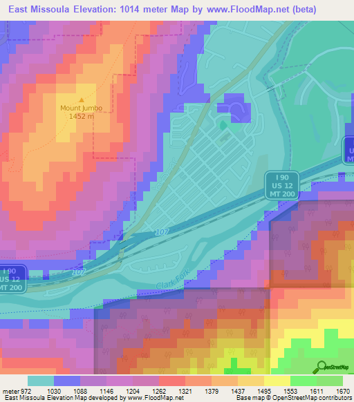 Elevation of East Missoula,US Elevation Map, Topography, Contour