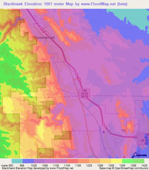 Black Hills Elevation Map.Elevation Of Blackhawk Us Elevation Map Topography Contour