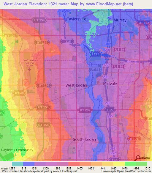Elevation of west jordanus elevation map topography contour west jordanus elevation map gumiabroncs Image collections