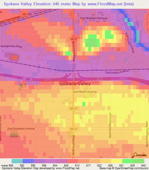 Spokane Elevation Map.Elevation Of Spokane Valley Us Elevation Map Topography Contour