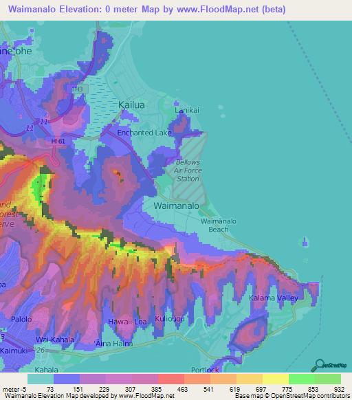 Elevation Of Waimanalo Us Elevation Map Topography Contour