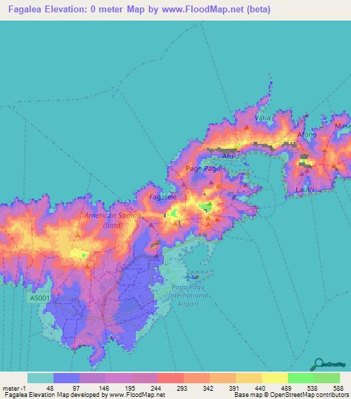 Elevation of Fagalea,American Samoa Elevation Map, Topography, Contour