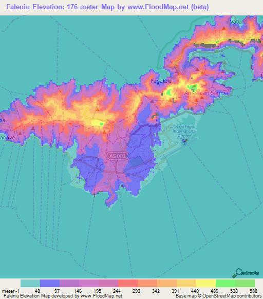 Elevation Of FaleniuAmerican Samoa Elevation Map Topography Contour - Map of american samoa