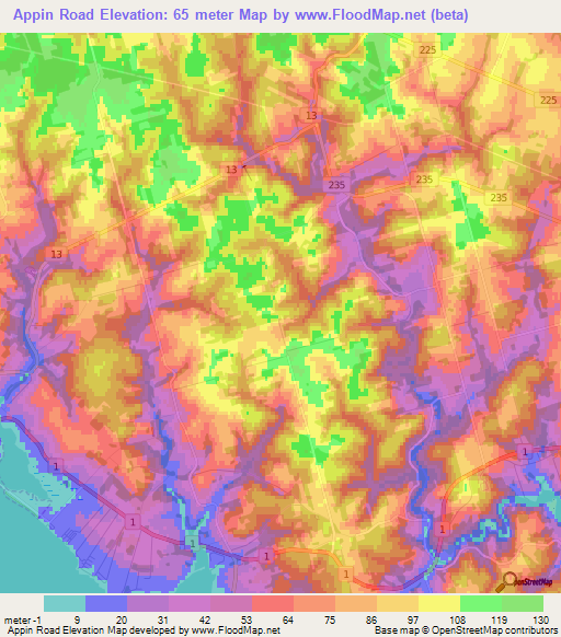 Elevation Of Appin Road Canada Elevation Map Topography Contour