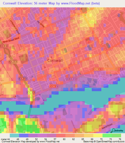 Cornwall Canada Map.Elevation Of Cornwall Canada Elevation Map Topography Contour