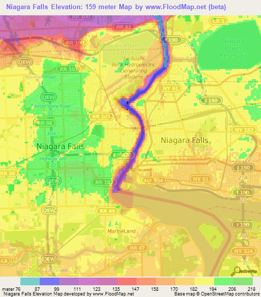 Nys Elevation Map.Elevation Of Niagara Falls Canada Elevation Map Topography Contour