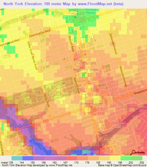 Map Of York Canada.Elevation Of North York Canada Elevation Map Topography Contour