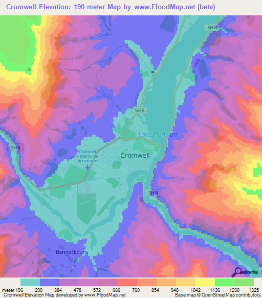 Map Of Cromwell New Zealand.Elevation Of Cromwell New Zealand Elevation Map Topography Contour
