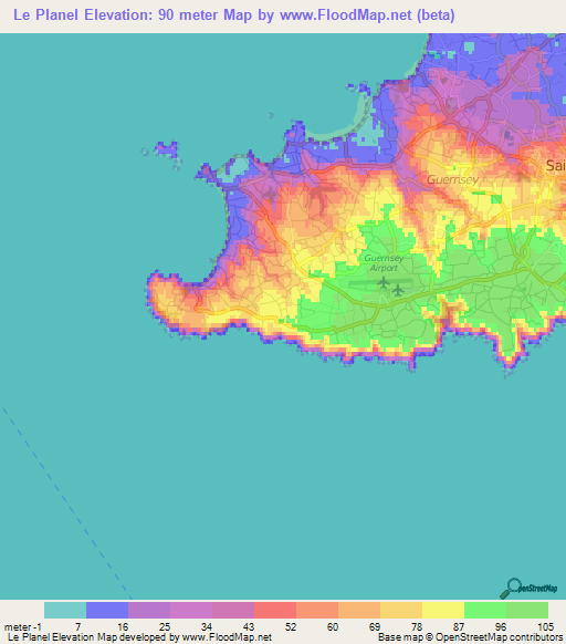Elevation of Le Planel,Guernsey Elevation Map, Topography ... on