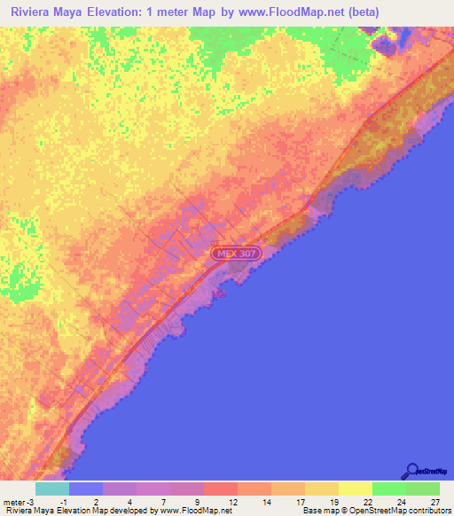 Elevation Of Riviera Maya Mexico Elevation Map Topography Contour