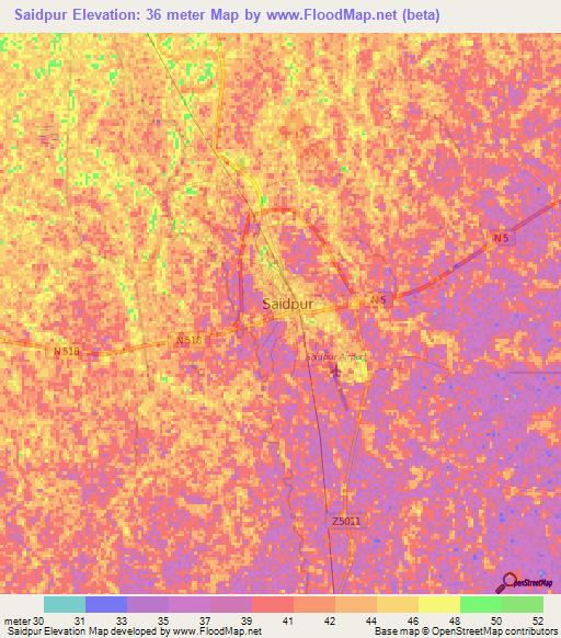 Elevation Of SaidpurBangladesh Elevation Map Topography Contour - Saidpur map