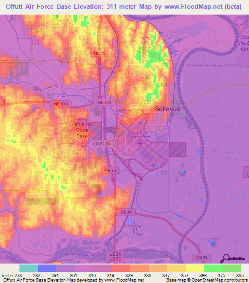 Elevation Of Offutt Air Force BaseUS Elevation Map Topography - Air force bases us map
