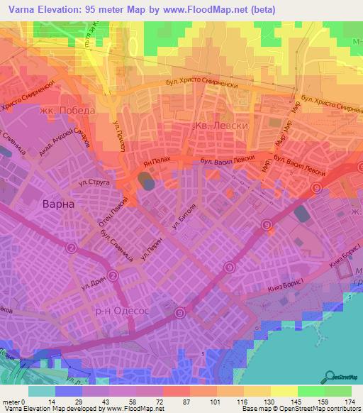 Elevation Of VarnaBulgaria Elevation Map Topography Contour - Varna map