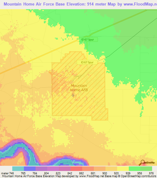 Elevation Of Mountain Home Air Force Baseus Elevation Map - Map-of-air-force-bases-in-us