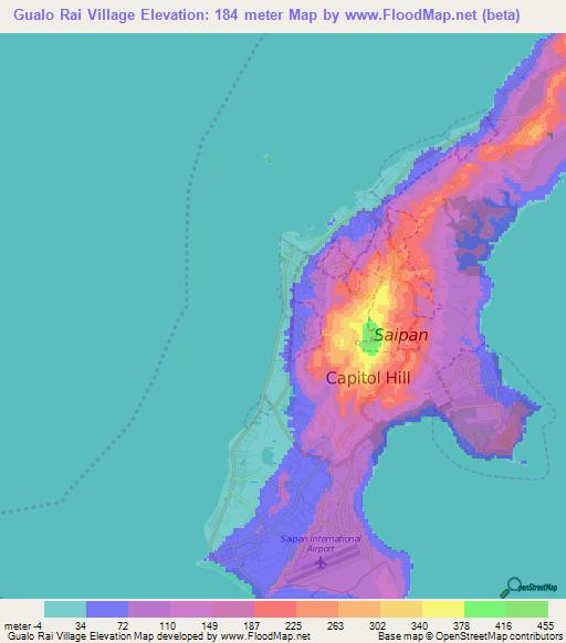 Elevation of Gualo Rai Village,Northern Mariana Islands ...
