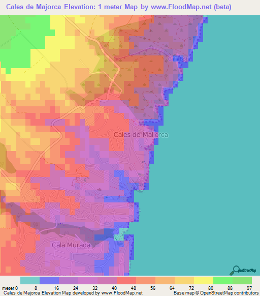 Elevation Of Cales De Majorca Spain Elevation Map Topography Contour