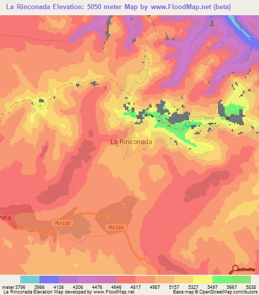 Elevation Of La Rinconada Peru Elevation Map Topography Contour