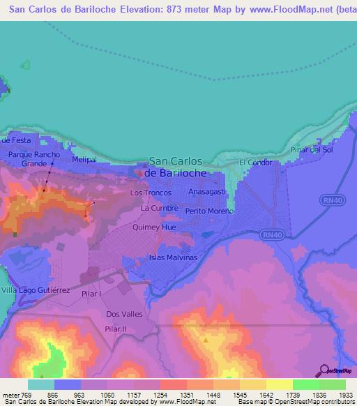 Elevation Of San Carlos De BarilocheArgentina Elevation Map - Argentina map bariloche