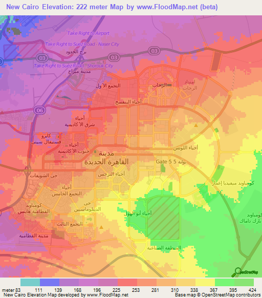 Elevation Of New Cairo Egypt Elevation Map Topography Contour