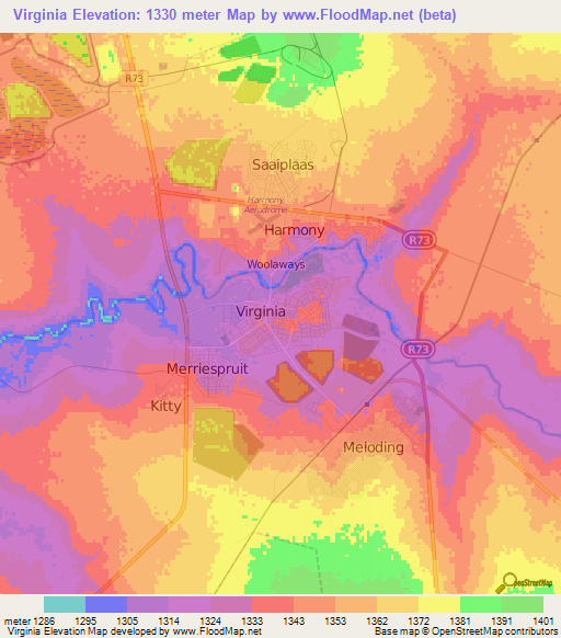 Topography Map Of Virginia.Elevation Of Virginia South Africa Elevation Map Topography Contour