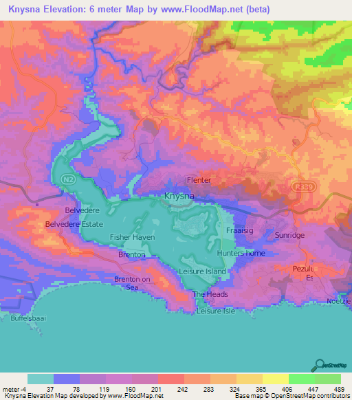 Sea Floor Elevation Map : Elevation of knysna south africa map topography