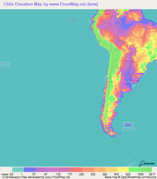 Chile Elevation And Elevation Maps Of Cities Topographic Map Contour - Map of chile