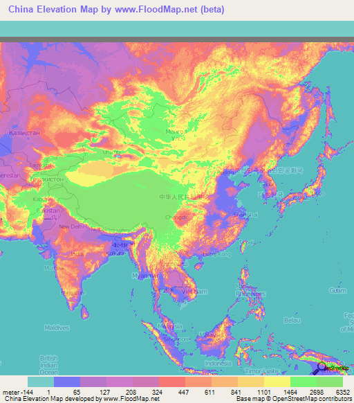 China Elevation and Elevation Maps of Cities, Topographic Map Contour